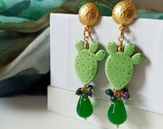 Baroque style Earrings with Sicily Ceramic Prickly Pear