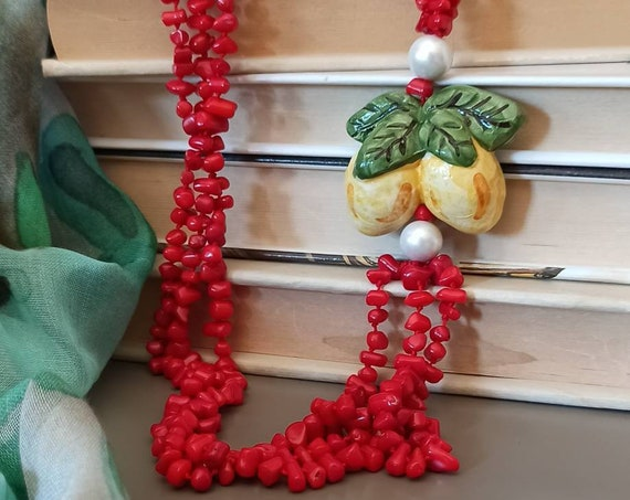 Multi strand necklace with Red Coral and Sicily Ceramic Lemon