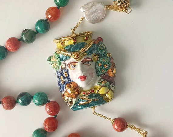 Baroque necklace with colorful stones and Sicily Ceramic Head