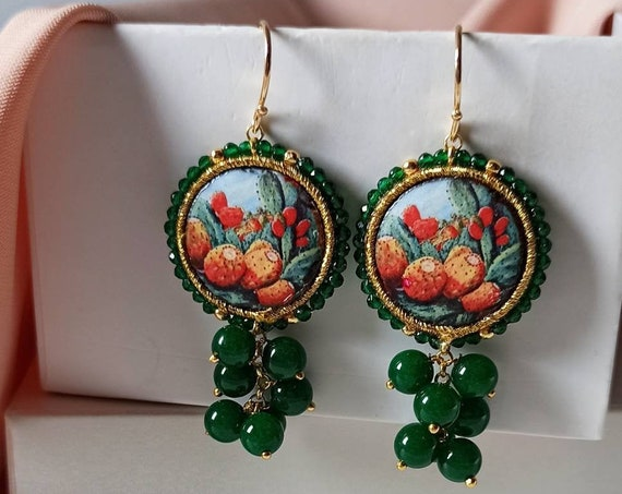 Baroque style Tile Earrings with green cluster