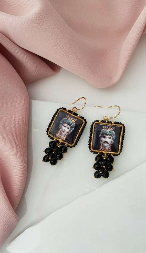 Baroque style Tile Earrings with black cluster