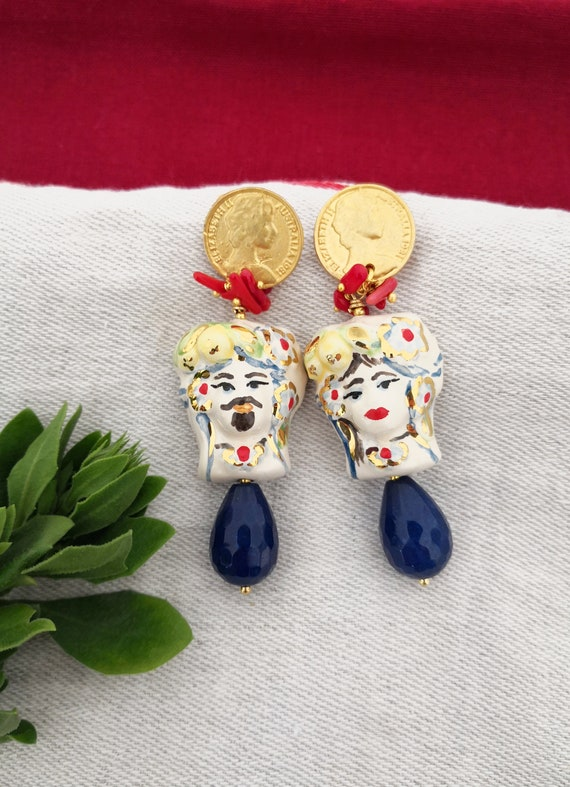 Baroque style drop earrings with Sicily ceramic heads