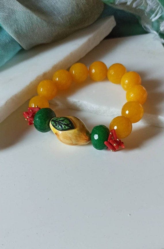 Orange stone bracelet with Sicily ceramic lemon