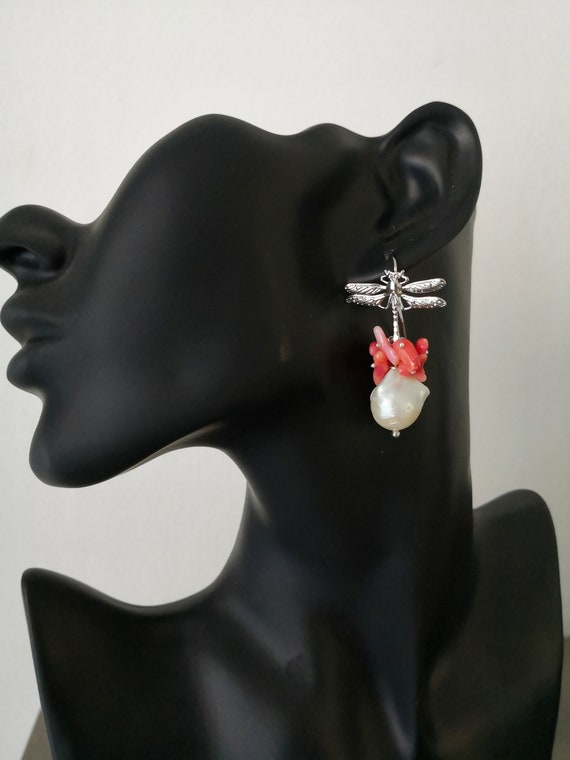 Dragonfly earrings with rose coral and Baroque Pearls