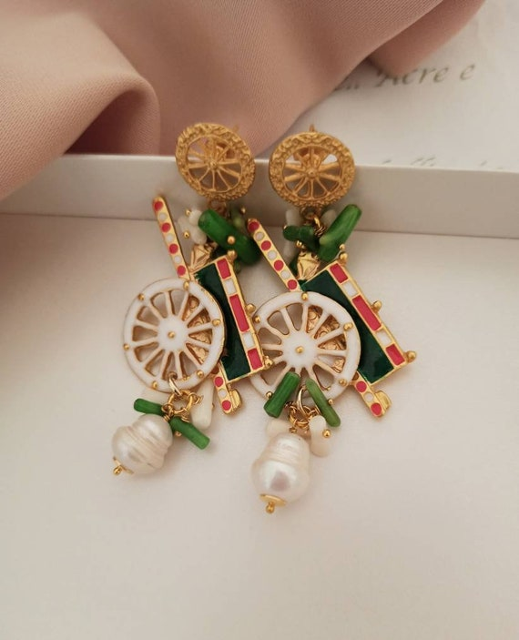 Sicilian Earrings with Sicily Cart and Baroque Pearls