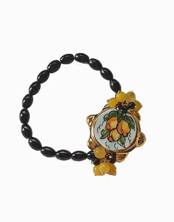 Black Onyx Bracelet with Sicily Ceramic Tambourine