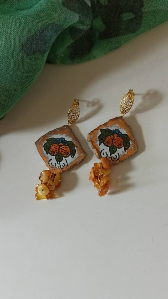 Baroque style Tile Earrings with Amber cluster