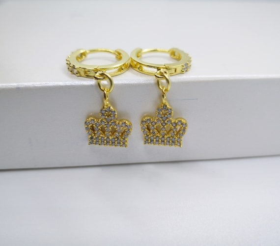 CZ Gold Hoops with pave Crown charm