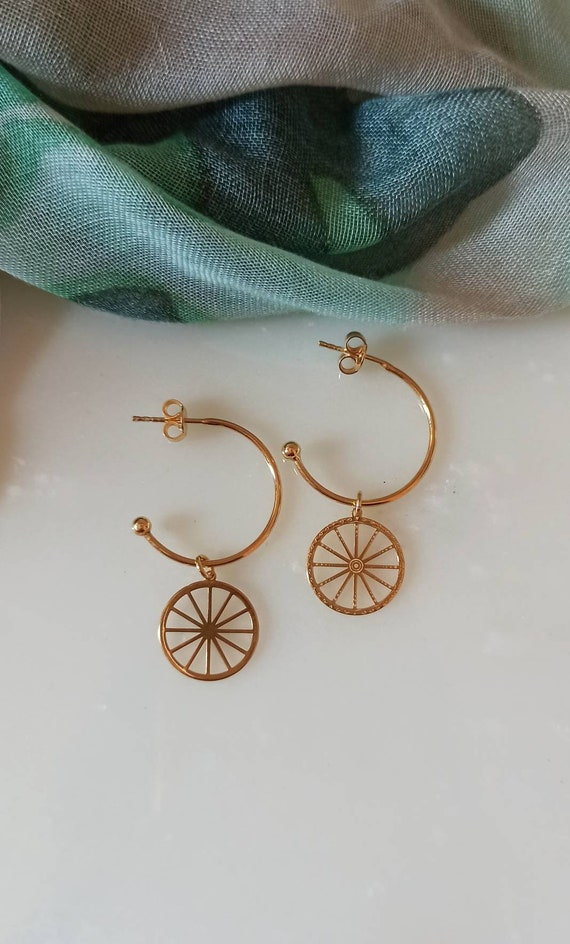 Hoop Earrings with Sicily Wheel charm