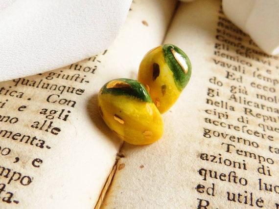 Sicily Ceramic Lemon Stud Earrings