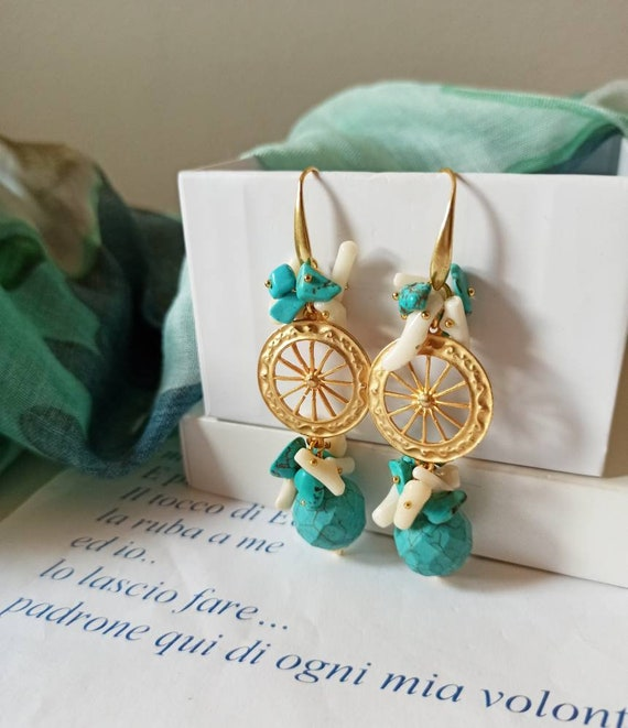 Sicilian Earrings with brass wheel and Howlite stones
