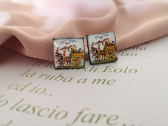 Square Stud earrings with Sicily ceramic tiles