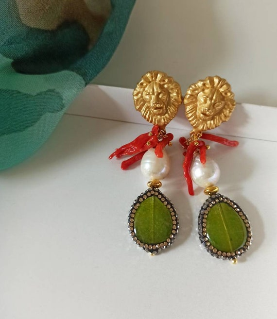 Green drop Earrings with Baroque Pearls and Red Coral Branches