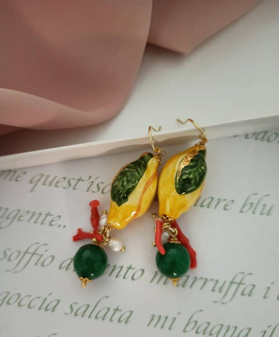 Baroque style lemon earrings