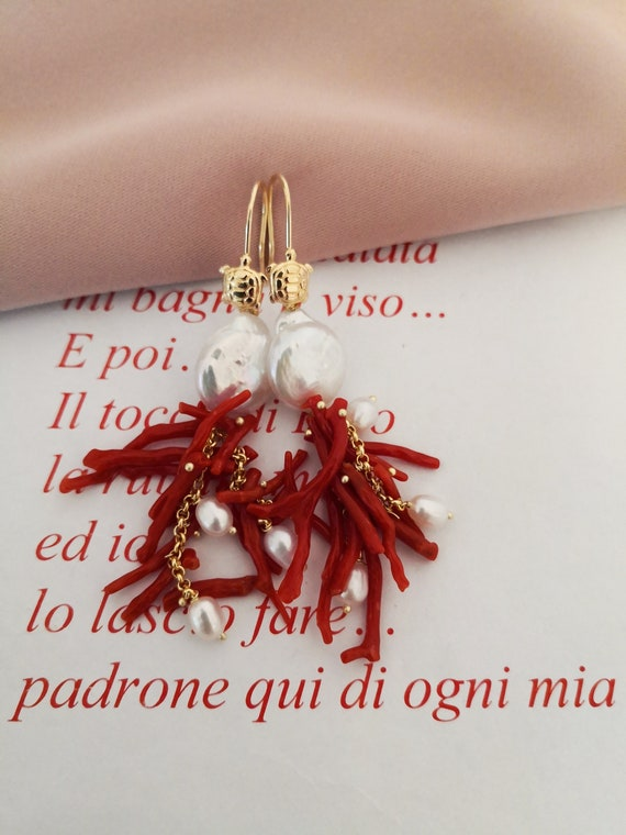 Red branch Coral cluster earrings