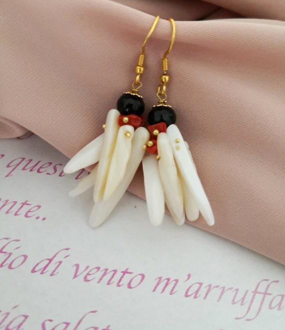 Bone cluster earrings