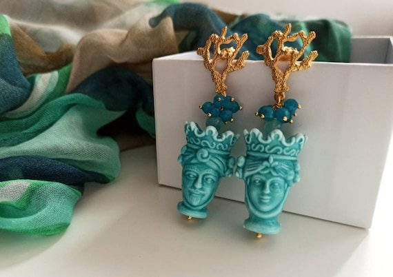 Baroque style Earrings with Sicily Ceramic Heads