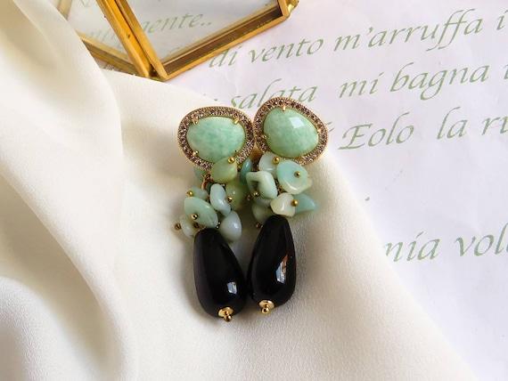 Black drop earrings with aqua green stones
