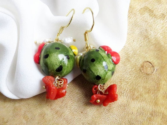 Sicilian Earrings with Ceramic Prickly Pears