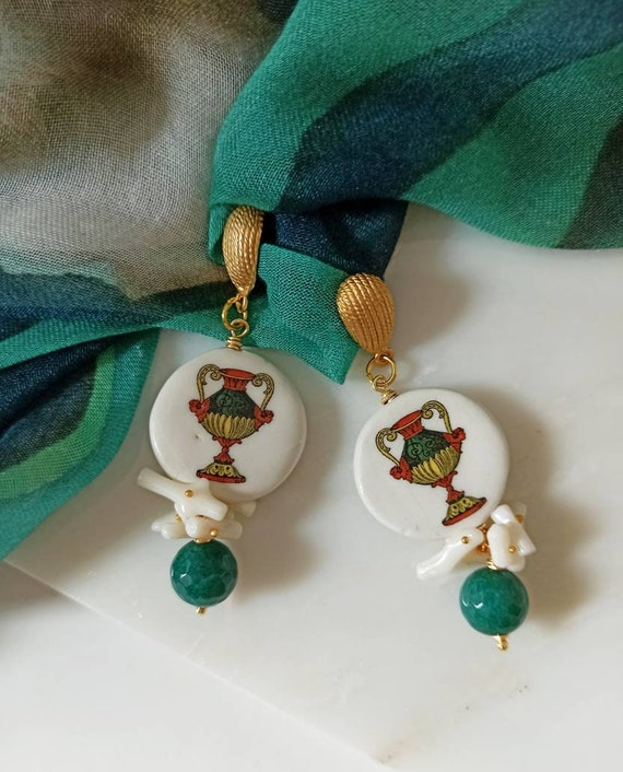Baroque style tile earrings