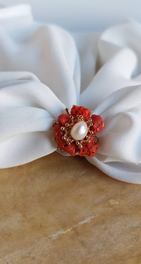 Floral Ring with Mediterranean Coral and Freshwater Pearls