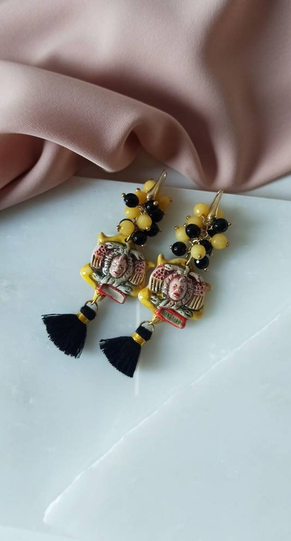 Sicilian earrings with Sicily Ceramic Trinacria and black tassels