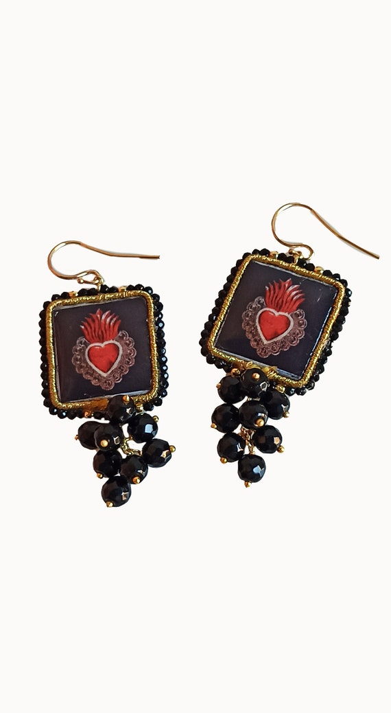 Baroque style Tile Earrings with black Onyx stone cluster