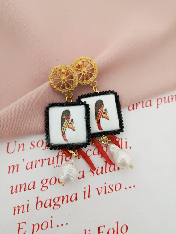Baroque style sicily tile earrings