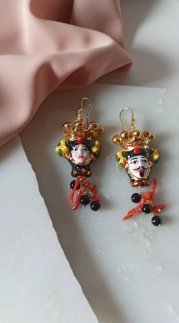Baroque earrings with Sicily Ceramic heads