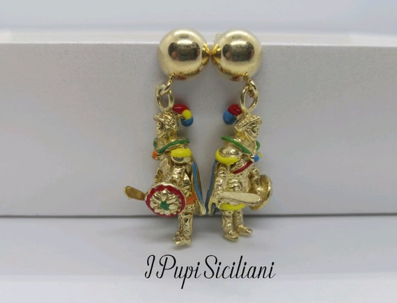 Sicilian style Gold plated 925 Sterling Silver earrings