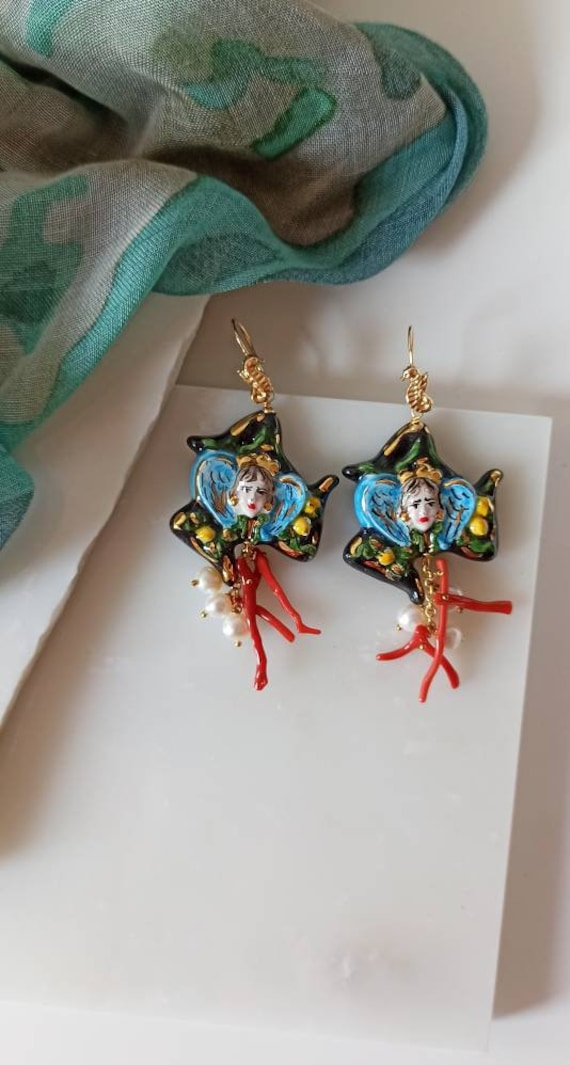 Baroque style Earrings with Sicily Ceramic Trinacria