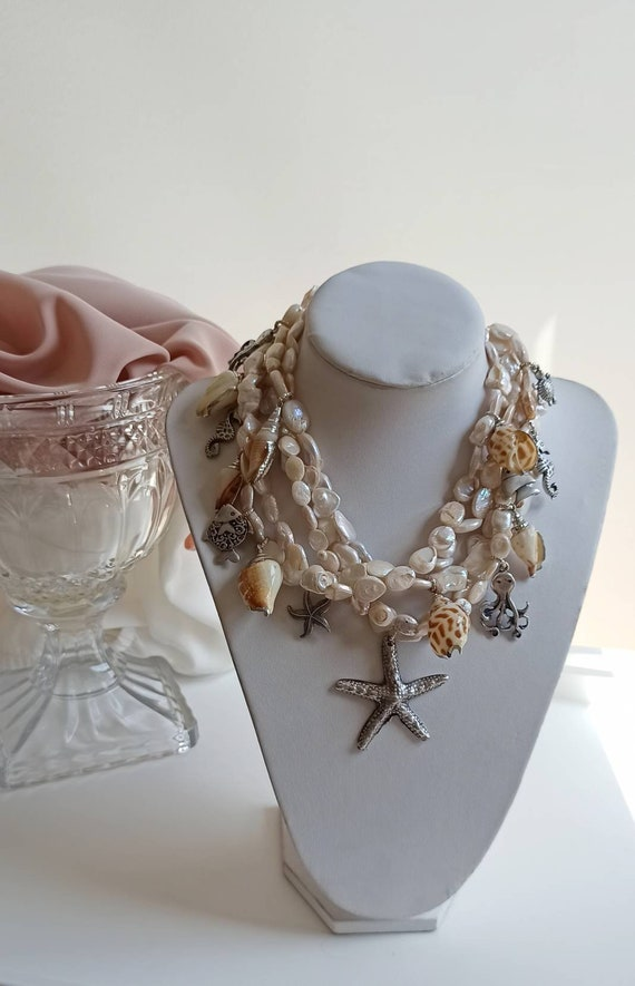 Multi strand beaded necklace with natural Pearls and Brass Pendants