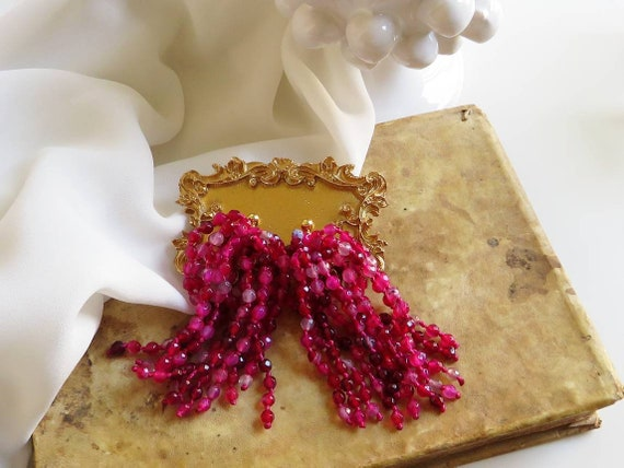 925 Cascade Earrings with Fuchsia stones