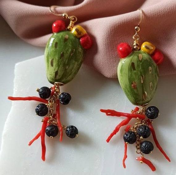 Prickly pear ceramic earrings