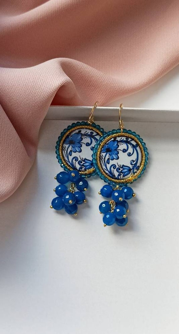 Sicilian Tile Earrings with blue cluster