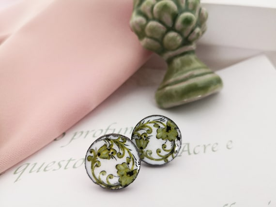 Round Stud earrings with Sicily ceramic tiles