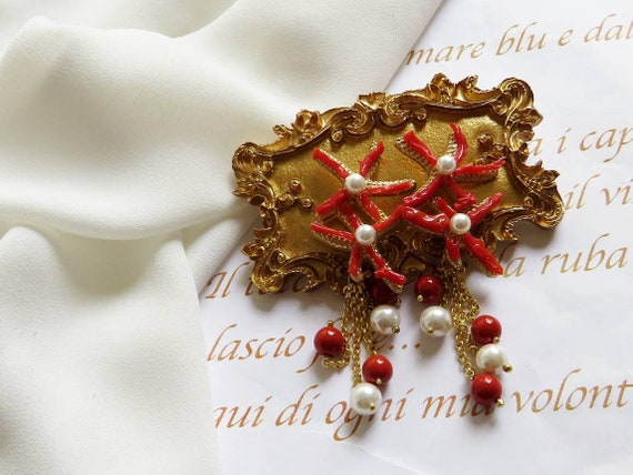 Falling Earrings with Red Coral and white Pearls