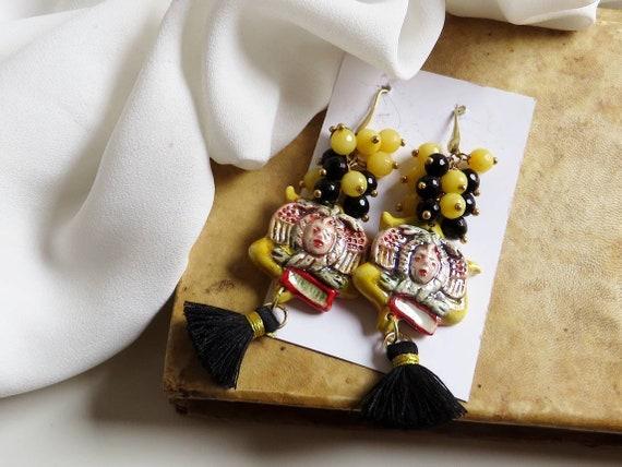 Sicilian earrings with Sicily Ceramic Trinacria and black tassels