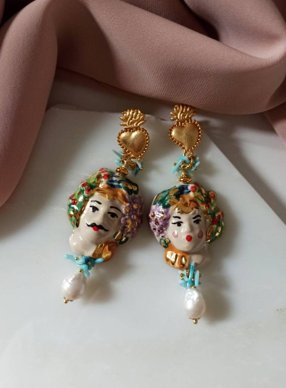 Baroque style Earrings with Sicily Ceramic heads and Baroque Pearls