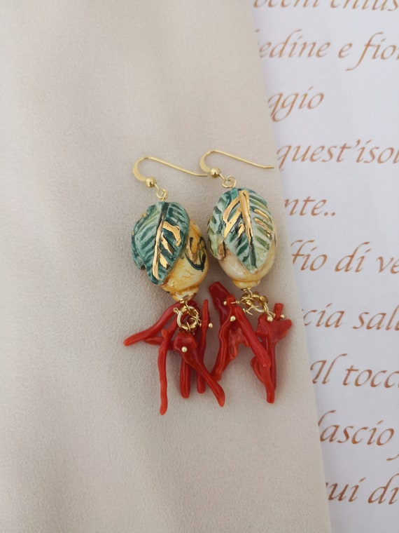 Baroque earrings with Sicily Ceramic lemons and Red Coral branches