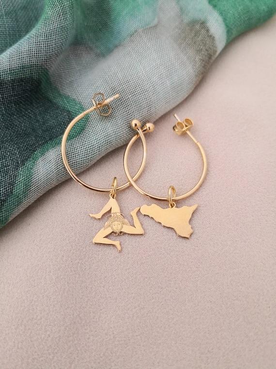 Hoop earrings with Sicily charm and Trinacria charm