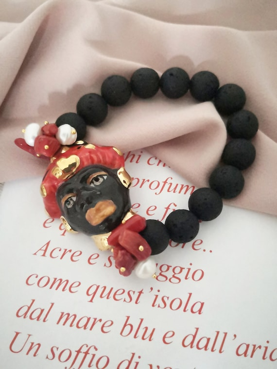 Lava rock bracelet with sicily ceramic head