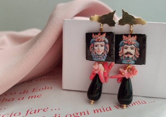Baroque style Tile Earrings with black Onyx drops