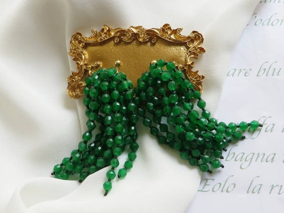 925 Cascade Earrings with green stones