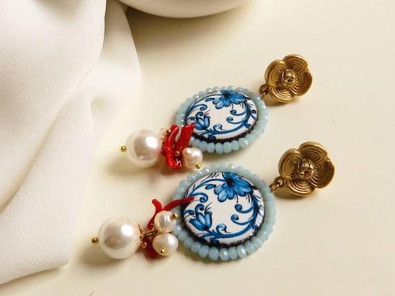 Sicily Ceramic Tile Earrings
