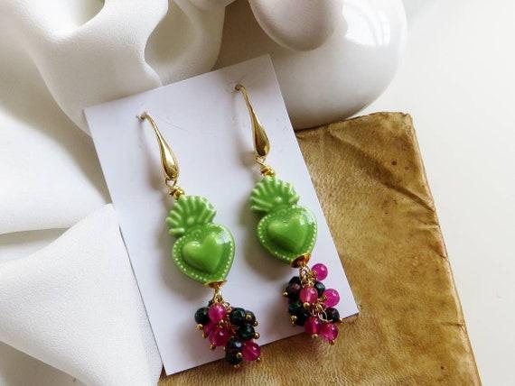 Sicily Ceramic Sacred Heart Earrings