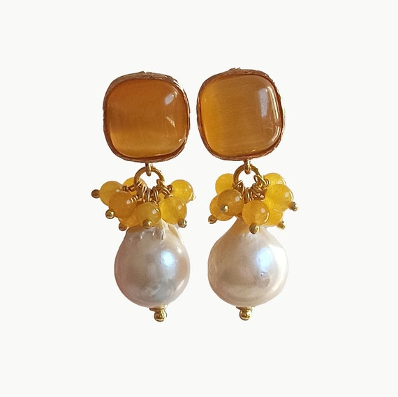 Baroque style cluster earrings with baroque pearls