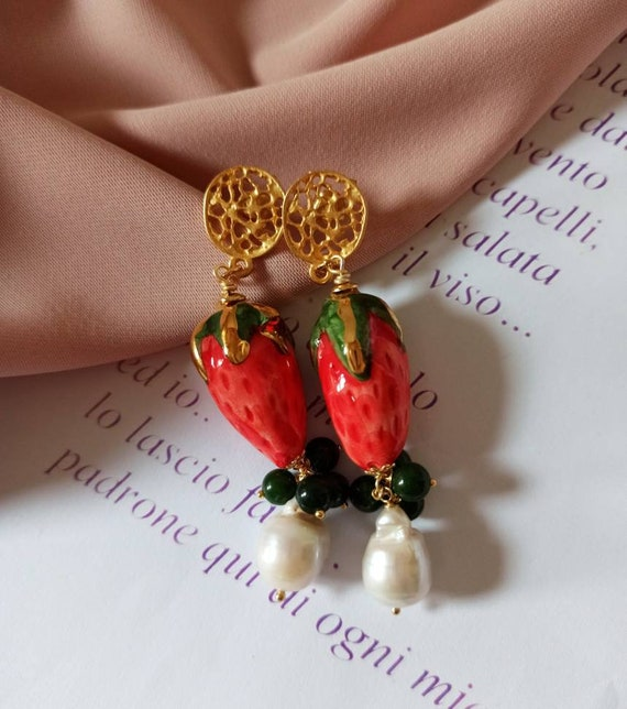 Sicilian Earrings with Ceramic Strawberries and Baroque Pearls