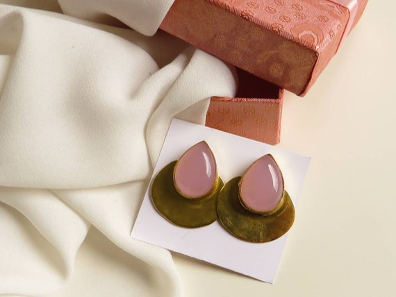 Drop Brass Studs with rose stones