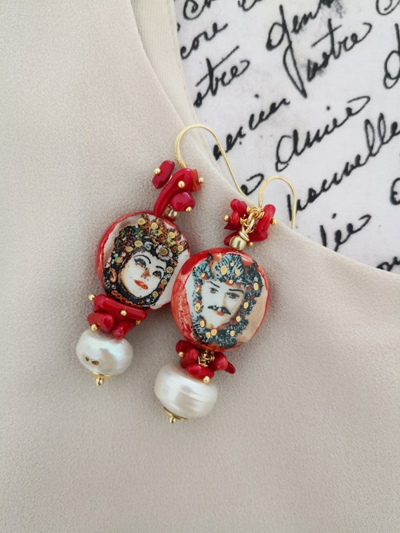 Sicilian style tile earrings with baroque pearls